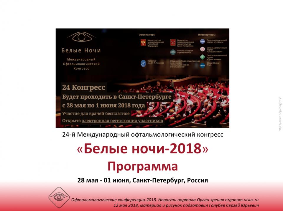 Белые ночи 2018 Международный офтальмологический конгресс Программа
