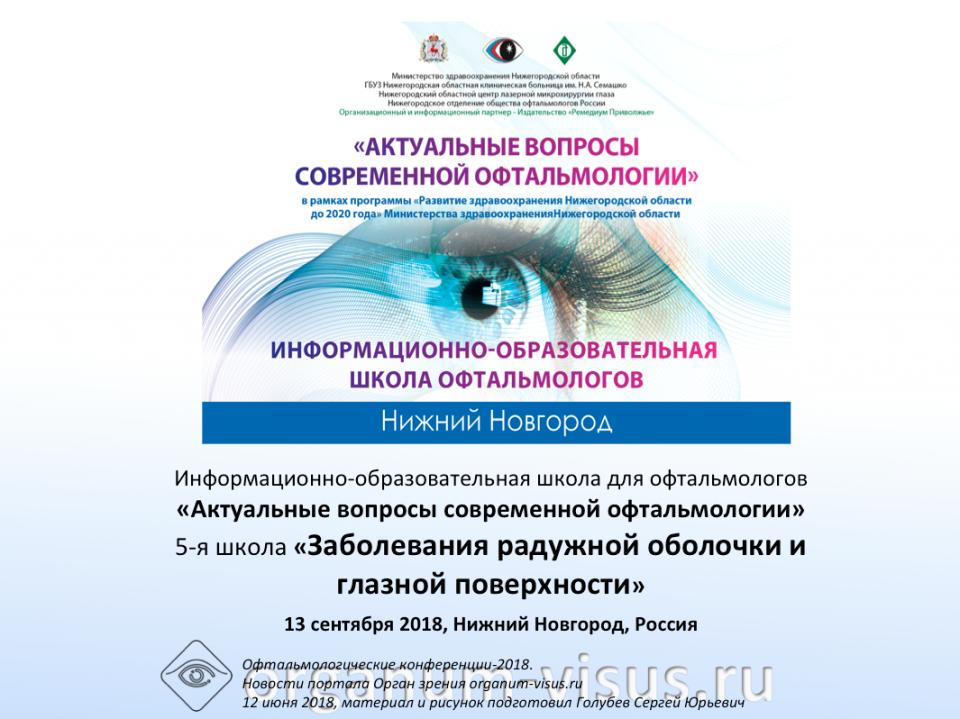 Школа офтальмологов Нижний Новгород 13 сентября