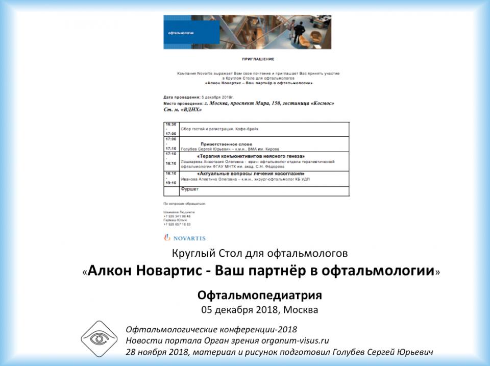 Круглый стол для офтальмологов Москвы Офтальмопедиатрия