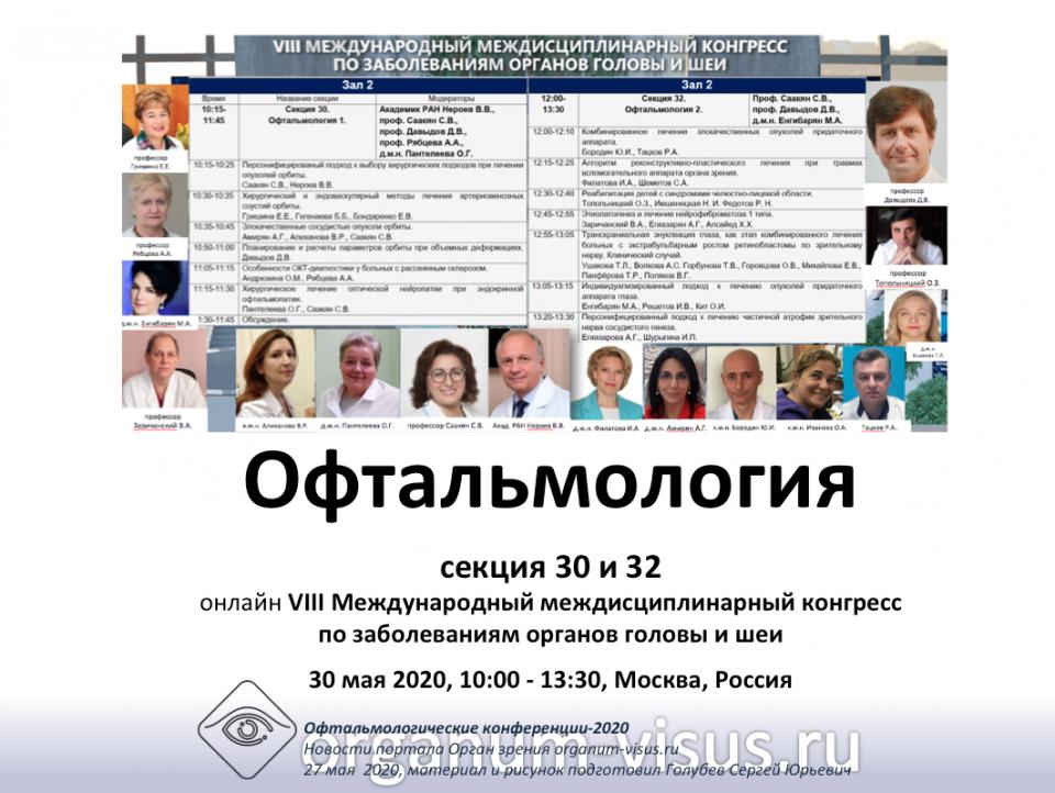Офтальмология Секции 30 и 32 на конгрессе HEADNECK 2020