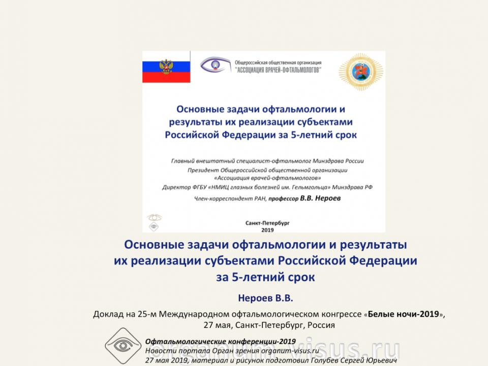Основные задачи офтальмологии Российской Федерации Нероев В.В.