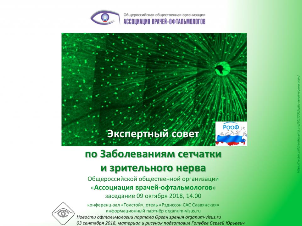 Болезни сетчатки Заседание Экспертного совета АВО в Москве