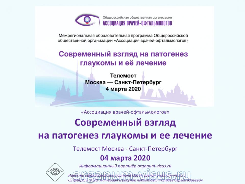 Телемост Офтальмологов Москва Санкт-Петербург 2020