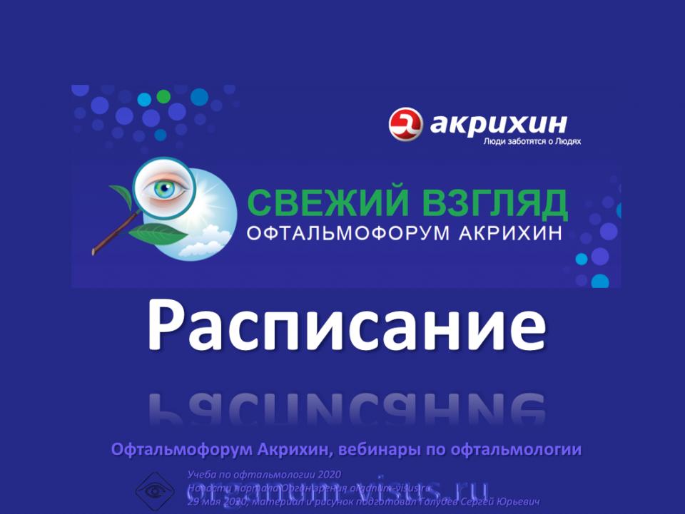 Офтальмофорум Акрихин Расписание