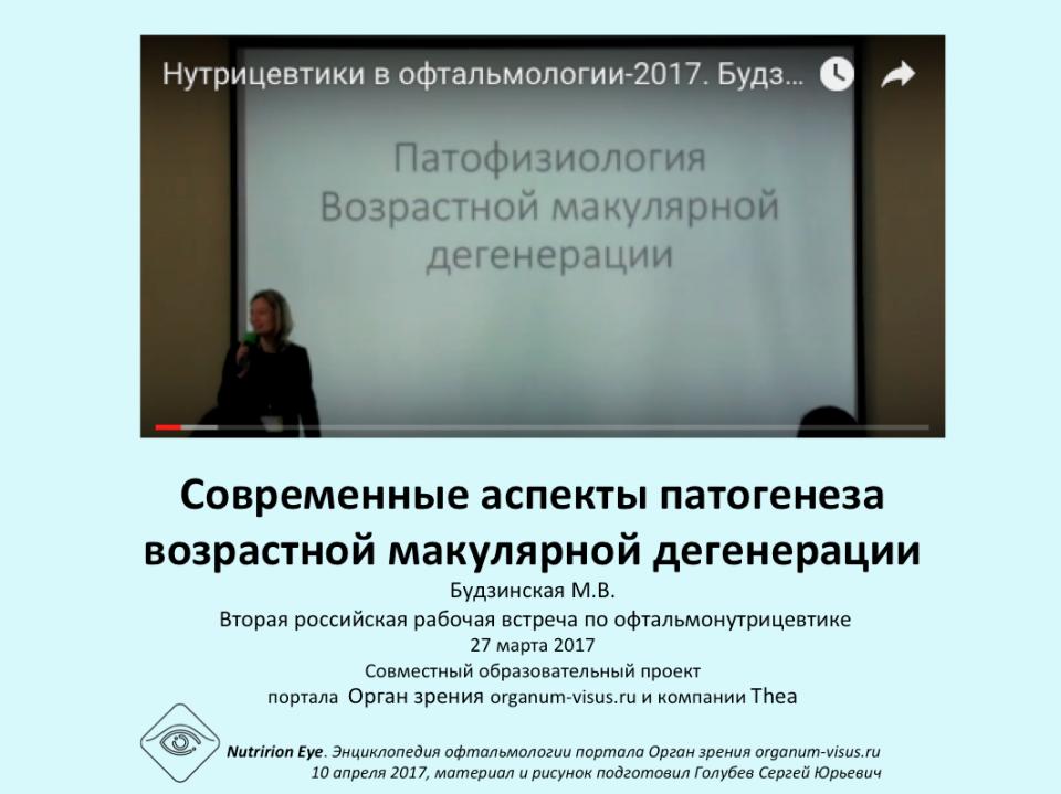 Нутрицевтики Патогенез ВМД Будзинская М.В.