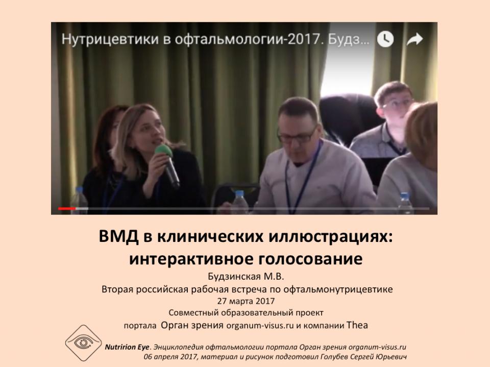 Нутрицевтики ВМД в клинических примерах Будзинская М.В.