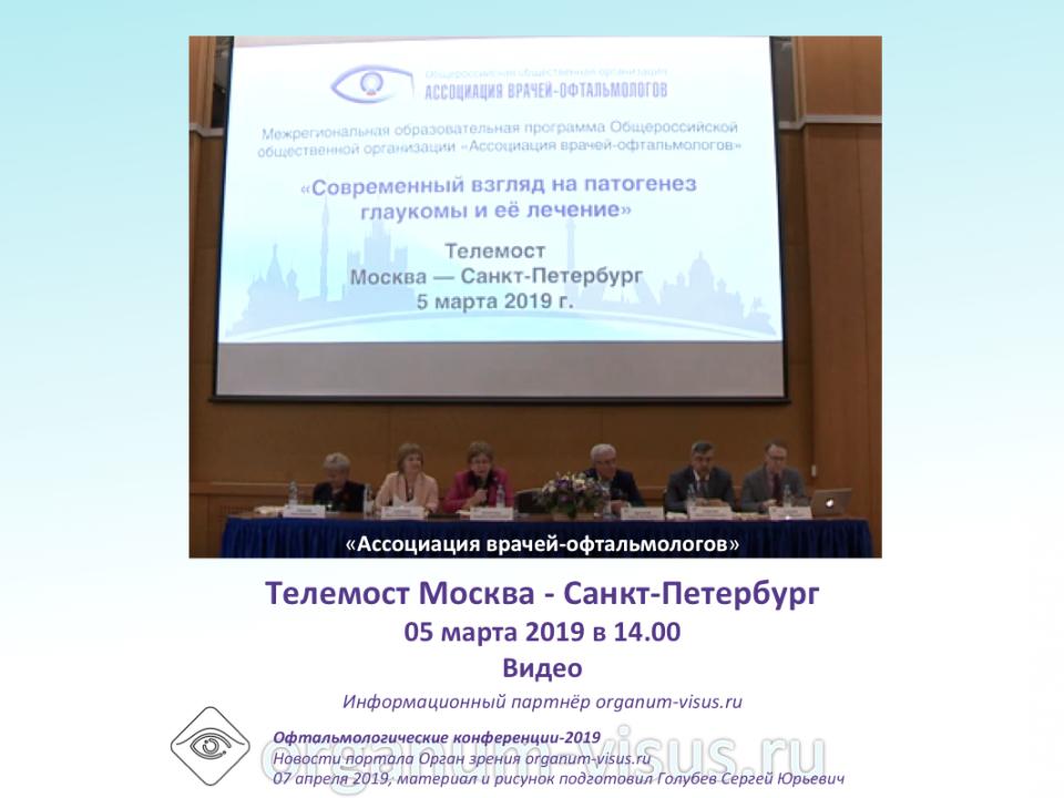 Глаукома Телемост Москва Санкт-Петербург 2019 Видео