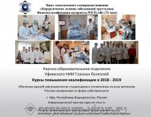 Учеба по офтальмологии Уфа Календарь циклов на 2019 год